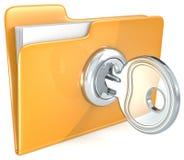 Secure files. Orange Folder with Key and keyhole Stock Photo