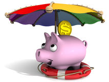 Secure financial savings. Concept. Pig piggy bank and coins with the symbol of the US dollar under an umbrella. The safety concept of savings Stock Photo