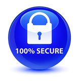 100% secure glassy blue round button. 100% secure isolated on glassy blue round button abstract illustration Royalty Free Stock Photography
