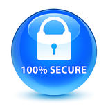 100% secure glassy cyan blue round button Royalty Free Stock Images