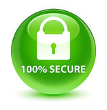 100% secure glassy green round button. 100% secure isolated on glassy green round button abstract illustration Royalty Free Stock Images