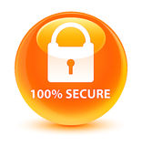 100% secure glassy orange round button. 100% secure isolated on glassy orange round button abstract illustration Royalty Free Stock Photos