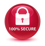 100% secure glassy pink round button. 100% secure isolated on glassy pink round button abstract illustration Royalty Free Stock Photos