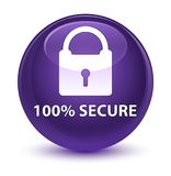 100% secure glassy purple round button Royalty Free Stock Photo