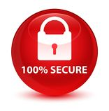 100% secure glassy red round button. 100% secure isolated on glassy red round button abstract illustration Stock Image