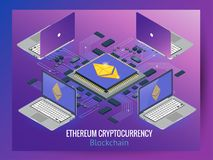Secure global financial network blockchain crypto currencies ethereum. Ethereum network. Isometric Secure Global Financial Network Blockchain Crypto Currencies Royalty Free Stock Photos