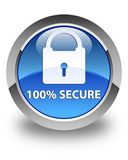 100% secure glossy blue round button Stock Photography