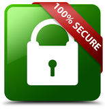 100% secure green square button. Reflecting shadow with red ribbon in corner Stock Illustration