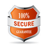 100 secure guarantee shield icon. Illustration on white background Royalty Free Stock Photo