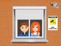 Secure home with video surveillance system Stock Photos