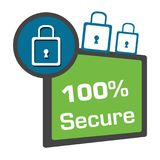 Secure Hundred Percent Green Blue Circle Square. Secure hundred percent concept image with text and related symbol Royalty Free Stock Photos