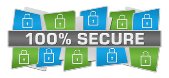 Secure Hundred Percent Green Blue Squares Top Bottom. Hundred percent secure concept image with text and related symbol Stock Photos