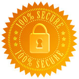 Secure icon. Secure gold seal with padlock Royalty Free Stock Photography