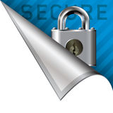 Secure icon on corner tab Stock Photo