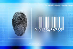 Secure identity scan. Screen with numbers, lines, fingerprint and bar code, concept for secure identity scan Stock Photography
