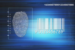 Secure identity scan. Screen with numbers, lines, fingerprint and barcode, concept for secure identity scan Stock Images