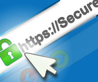 Secure internet browsing. Safe and secure internet browsing with https protocol based on 128 bit cypher strength concept, browser with green lock and https Stock Photos