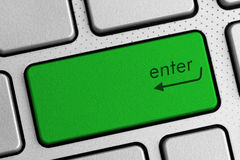 Secure internet concept - green enter keyboard button Royalty Free Stock Photography