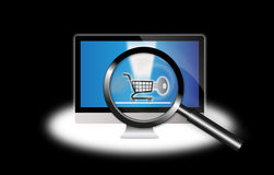 Secure Internet shopping computer focus Stock Image