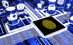 Secure IOT circuit board with fingerprint. Secure circuit board with IOT icons in blue with a yellow fingerprint on the main chip 3D illustration security Royalty Free Stock Photos