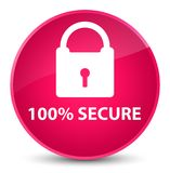 100% secure elegant pink round button. 100% secure isolated on elegant pink round button abstract illustration Royalty Free Stock Photography