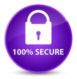 100% secure elegant purple round button. 100% secure isolated on elegant purple round button abstract illustration Stock Photos