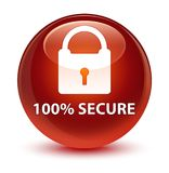 100% secure glassy brown round button. 100% secure isolated on glassy brown round button abstract illustration Royalty Free Stock Images