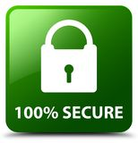 100% secure green square button. 100% secure isolated on green square button abstract illustration Royalty Free Illustration