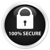 100% secure premium black round button. 100% secure isolated on premium black round button abstract illustration Royalty Free Stock Photos