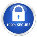 100% secure premium blue round button. 100% secure isolated on premium blue round button abstract illustration Stock Images