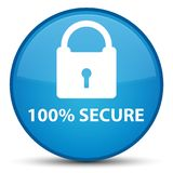 100% secure special cyan blue round button. 100% secure isolated on special cyan blue round button abstract illustration Royalty Free Stock Photo
