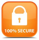 100% secure special orange square button. 100% secure isolated on special orange square button abstract illustration Stock Illustration