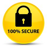 100% secure special yellow round button. 100% secure isolated on special yellow round button abstract illustration Stock Image