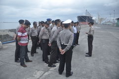 Secure the Joint Personnel Gafatar Member Arrival at the Port of Tanjung Emas Semarang Stock Photo