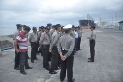Secure the Joint Personnel Gafatar Member Arrival at the Port of Tanjung Emas Semarang Royalty Free Stock Photography