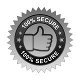 100% secure label. Vector illustration of 100% secure label with thumbs up sign. stamp or seal on isolated white background royalty free illustration