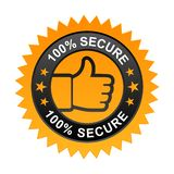 100% secure label. Vector illustration of 100% secure label with thumbs up sign. stamp or seal on isolated white background stock illustration