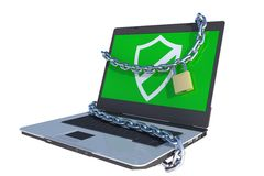 Secure laptop. Laptop computer with lock and chains around screen Royalty Free Stock Images