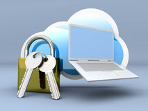 Secure Laptop cloud Royalty Free Stock Images