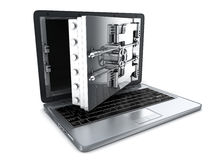 Secure laptop, open Royalty Free Stock Images