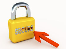 Secure lock and pointer. Online security concept with lock and mouse pointer on white surface. banking and finance needs secure environment for online Stock Photography