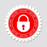 Secure Lock Sign Label Stock Image