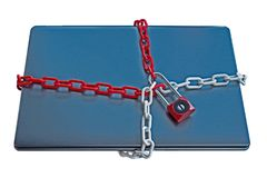 Secure locking of notebook as virus protection royalty free stock photos