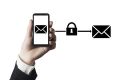 Secure mail cloud. Hand holding smartphone with secure mail to cloud symbol stock images