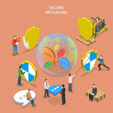 Secure messaging isometric flat vector concept. Stock Images