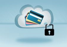 Secure mobile payment in cloud computing  illustration. Secure mobile payment in cloud computing where virtual credit card information is stored Stock Photography