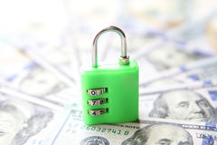 Secure money padlock concept. US dollars. Currency banknotes Stock Photography