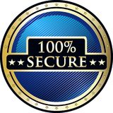 Secure One Hundred Percent Icon. Secure 100 percent, guaranteed round gold label icon with stars Stock Illustration