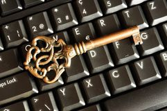 Secure online banking. Or internet firewall concept with padlock and keyboard Royalty Free Stock Photos