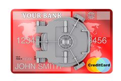 Secure Online Banking Concept. Credit Card with Bank Safe Door. Secure Online Banking Concept. Credit Card with Bank Safe Door on a white background. 3d Royalty Free Stock Photo